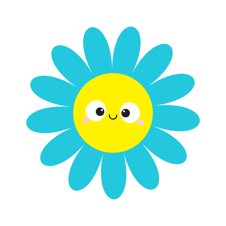 Blue daisy chamomile with smiling face head. Cute flower plant collection. Love card. Cute cartoon funny character. Camomile icon Growing concept. Flat design. White background. Vector illustration