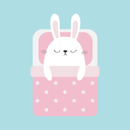 Sleeping rabbit bunny. Baby pet animal collection for kids. Cute cartoon character.