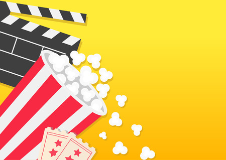 Movie reel Open clapper board Popcorn bucket box package Ticket Admit one. Three star. Pop corn falling. Cinema icon set. Flat design style. Yellow background banner template. Vector illustration Illustration