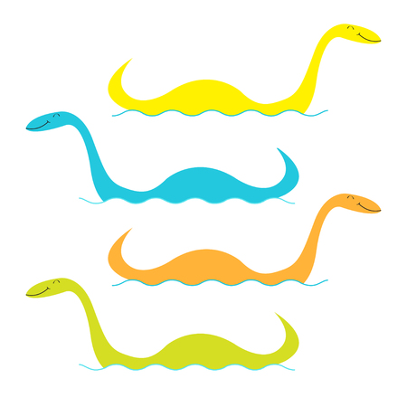 Loch Ness Nessy fictional creature big set. Water monster with eye, tail Swimming floating Sea ocean wave. Dinosaur shape. Funny Cute cartoon character. Baby collection Flat White background Vector Çizim