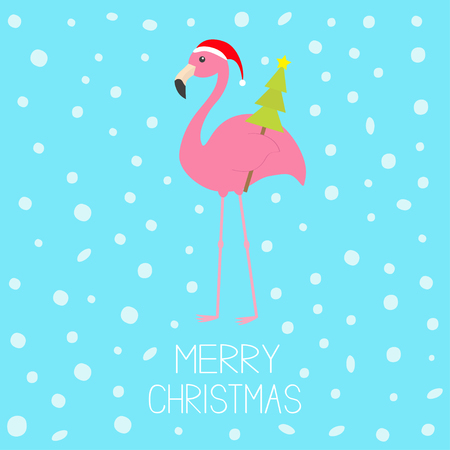 Merry Christmas. Pink flamingo with wing holding fir tree. Santa Claus hat. Exotic tropical bird. Zoo animal collection. Cute cartoon character. Decoration Flat design. Blue snow background. Vector