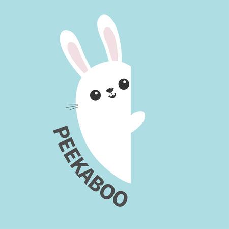 Insegna della parete della tenuta del coniglio di coniglietto bianco. Animale divertente sveglio del fumetto che si nasconde dietro la carta. Simbolo di Pasqua felice. Testo di Peekaboo. Design piatto. Sfondo di colore blu pastello. Illustrazione vettoriale