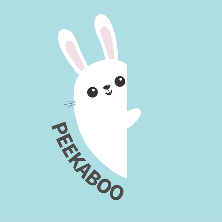 White bunny rabbit holding wall signboard. Cute cartoon funny animal hiding behind paper. Happy Easter symbol. Peekaboo text. Flat design. Pastel blue color background. Vector illustration