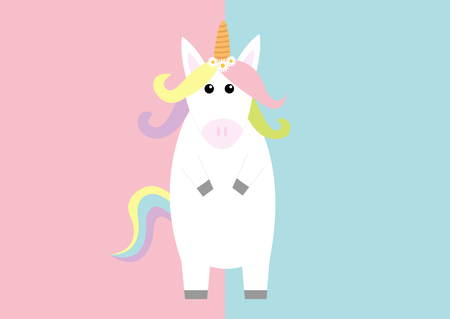 Unicorn standing Pastel color rainbow hair, daisy chamomile flower. Kawaii head face. Flat lay design. Cute cartoon baby character. Funny horse. Valentines Day. Love card. Pink blue background. Vector