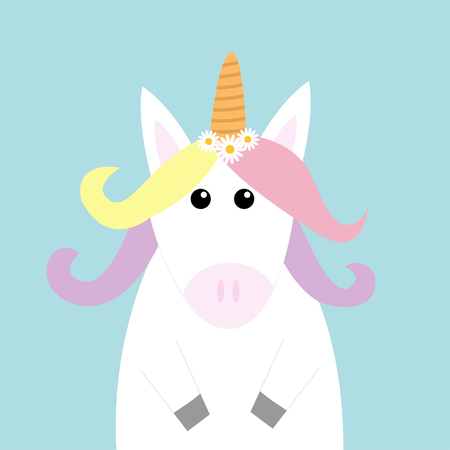 Unicorn head face. Pastel color rainbow hair, white daisy chamomile flower set. Flat lay design. Cute cartoon kawaii baby character. Funny horse. Happy Valentines Day. Love card Blue background Vector