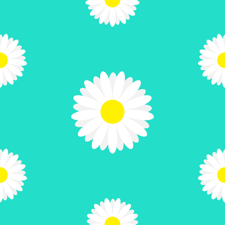 White daisy marguerite chamomile icon. Cute flower plant collection. Growing concept. Seamless Pattern Wrapping paper, textile template. Green background. Vector illustration