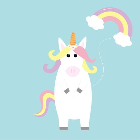 Unicorn holding rainbow cloud baloon. Kawaii face. Pastel color hair, daisy chamomile. Flat lay design. Cute cartoon baby character. Funny horse. Happy Valentines Day. Love card Blue background Vector