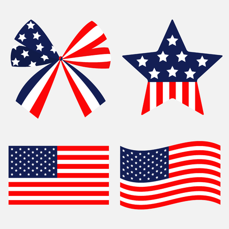 Ribbon bow Star shape American flag wave icon set. Stars and strips . Isolated. Red and blue color. White background. Holiday sign symbol. Flat design. Vector illustration Ilustrace