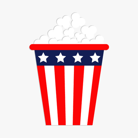 Popcorn icon. Cinema icon in flat design style. American flag Stars and strips. Isolated. Red and blue color. White background. Isolated. Holiday sign symbol. Vector illustration