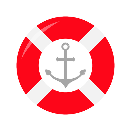 Red lifebuoy ring Ship anchor icon. Life buoy round circle for safety at sea ocean water. Nautical sign symbol. Flat deisgn. White background. Isolated. Vector illustration