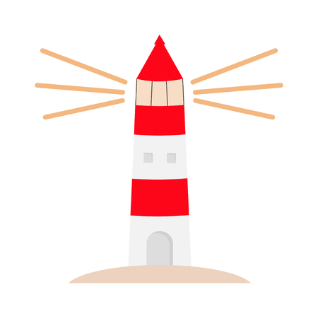 Lighthouse logo icon. Path lighting. Light house shining. Red white building. Sea ocean tower maritime architecture. Flat design. White background. Isolated. Vector illustration