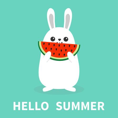 White bunny rabbit holding eating watermelon slise. Funny head face. Big ears. Cute kawaii cartoon character. Hello summer. Baby greeting card. Blue background. Flat design. Easter symbol. Vector Illustration