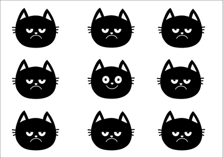 Cute black cat set. Emotion collection. Happy, smiling and sad, angry kitten head face. Optimist pessimist. Funny cartoon characters. White background Isolated Flat design Vector illustration
