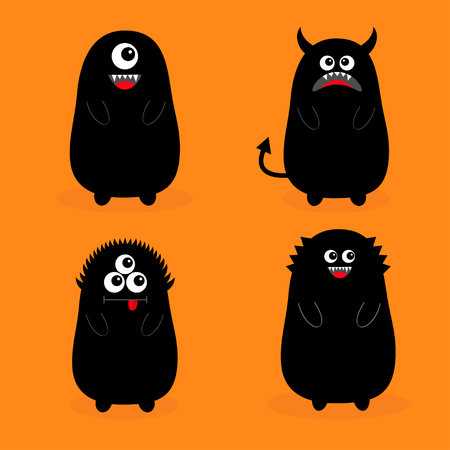 Monster black silhouette set. Fang tooth. Open mouth. One eye, teeth, tongue, hands, tail, horns. Funny Cute cartoon baby character. Happy Halloween. Flat design Orange background Isolated Vector
