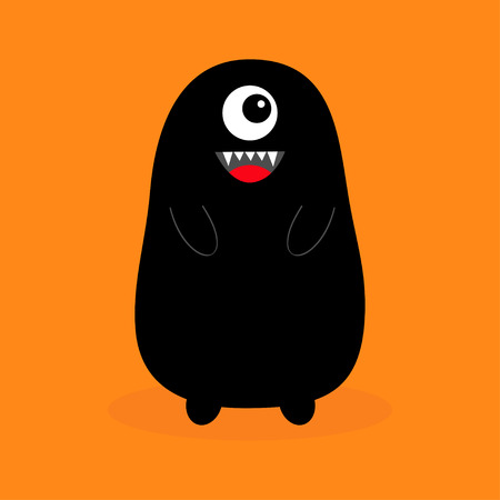 Monster black silhouette. Fang tooth. Open mouth. One eye, teeth, tongue, hands. Funny Cute cartoon baby character. Happy Halloween. Flat design. Orange background Isolated Vector illustration