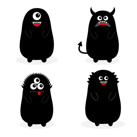 Monster black silhouette set. Fang tooth. Open mouth. One eye, teeth, tongue, hands, tail, horns. Funny Cute cartoon baby character. Happy Halloween. Flat design White background Isolated Vector