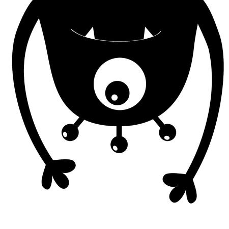 Monster head silhouette. One eye, teeth fang, hands. Hanging upside down. Black Funny Cute cartoon character. Baby collection. Happy Halloween card. Flat design. White background. Isolated. Vector
