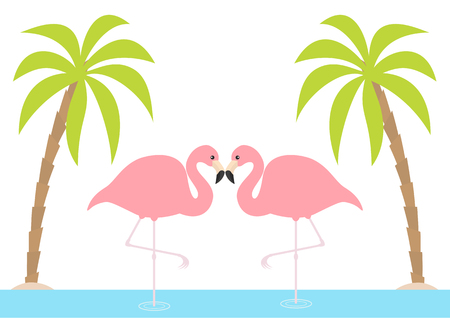 Two pink flamingo couple standing on one leg. Palms tree, island, ocean, see water. Exotic tropical bird. Zoo animal collection. Cute cartoon character. Love card Flat design. White background. Vector Ilustração
