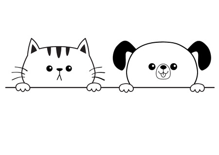 Cat dog happy face head icon. Hands paw holding table line. Contour silhouette. Cute cartoon pooch kitten character. Kawaii animal Funny baby puppy kitty Love card. Flat design White background Vector