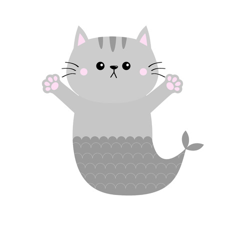 Gray cat mermaid fish tail Kitten ready for a hugging. Open hand pink paw print. Kitty reaching for a hug. Funny Kawaii baby animal. Cute cartoon character. Pet collection Flat White background Vector
