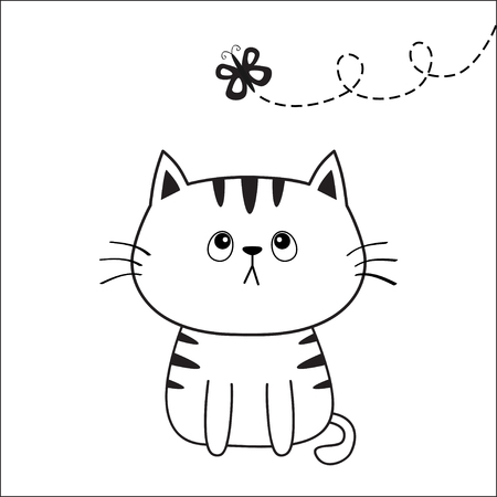 Cat head face silhouette looking at butterfly. Contour line. Cute cartoon sitting kitty character. Kawaii animal. Funny baby kitten. Love Greeting card. Flat design White background. Vector
