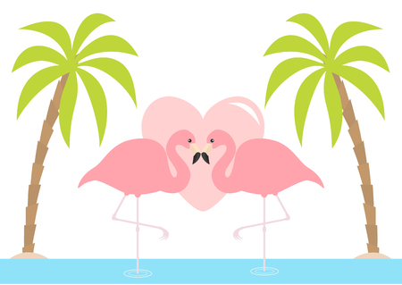 Two flamingo standing on one leg. Pink heart. Palms tree, island, ocean, see water. Exotic tropical bird. Zoo animal collection. Cute cartoon character. Love card Flat design. White background. Vector