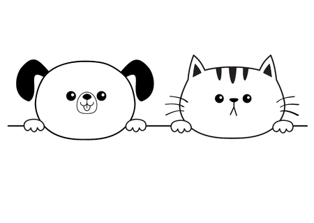 Cat dog happy face head icon. Hands paw holding line. Contour silhouette. Cute cartoon pooch kitten character. Kawaii animal Funny baby puppy kitty Love card. Flat design White background Vector