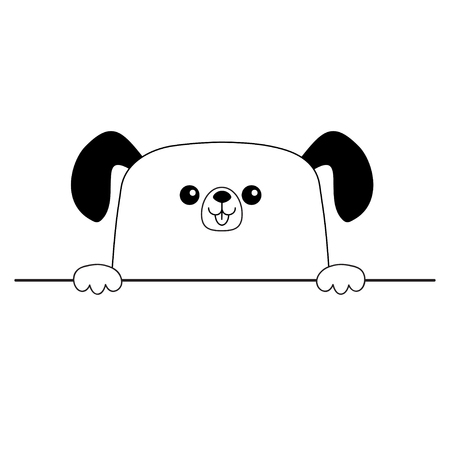 Dog happy face head icon. Hands paw holding table line. Cute cartoon pooch character. Contour silhouette. Kawaii animal. Funny baby puppy. Love card. Flat design. Isolated White background. Vector