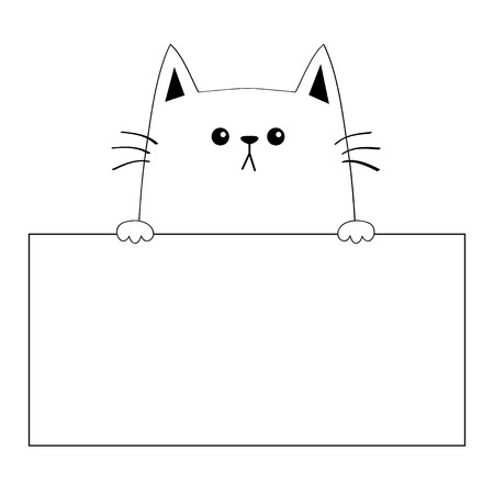 Cat head face silhouette hanging on paper board template. Paw hands. Contour line. Funny baby kitten. Cute cartoon kitty character. Kawaii animal.Love card. Flat design. White background Vector Illustration