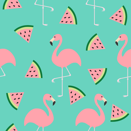 Flamingo set. Seamless Pattern Exotic tropical bird. Watermelon triangle slice seeds. Zoo animal collection. Cute cartoon character. Decoration element. Green background. Isolated. Flat design. Vector