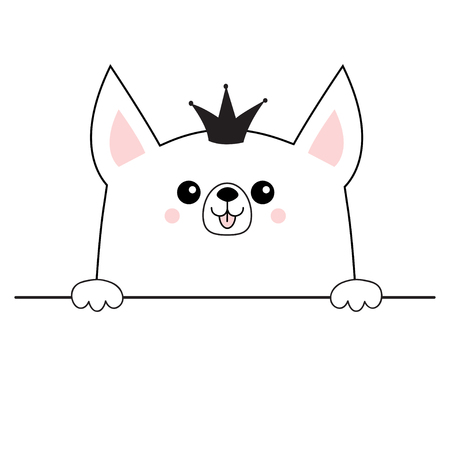 Corgi dog happy face head icon. Hands paw holding table line. Princess crown. Cute cartoon pooch character. Contour silhouette. Kawaii animal. Funny baby puppy Love Flat design White background Vector
