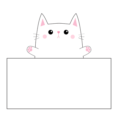 Cat face head silhouette hanging on paper board template. Pink cheeeks. Paw hands up. Contour line. Funny baby kitten. Cute cartoon kitty character. Kawaii animal. Flat design White background Vector