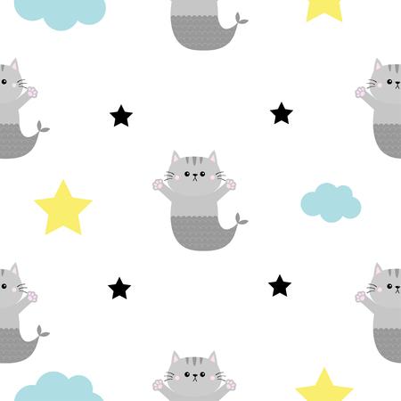 猫の人魚の魚の尾、頭、手。雲、星の形。かわいい漫画可愛いキャラクター。赤ちゃんのペットコレクション。シームレスなパターンラッピング紙、テキスタイルテンプレート。白い背景。フラットなデザイン。ベクトル