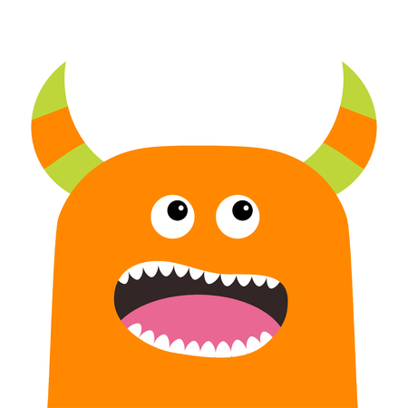 Monster scary screaming face head icon. Eyes, horns, fang tooth. Cute cartoon boo spooky character. Orange silhouette. Kawaii funny baby. Happy Halloween. Flat design. White background. Vector Illustration
