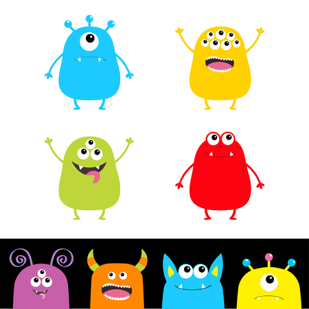 Colorful monster silhouette set. Head face. Cute cartoon scary character. Baby collection. Eyes, tongue, hands up. White black background Isolated. Happy Halloween card Flat design Vector illustration Vector Illustration