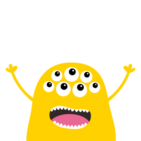 Monster scary screaming face head icon. Eyes, fang tooth, tongue, hands up. Cute cartoon boo spooky character Yellow silhouette. Kawaii funny baby. Happy Halloween. Flat design White background Vector Illustration