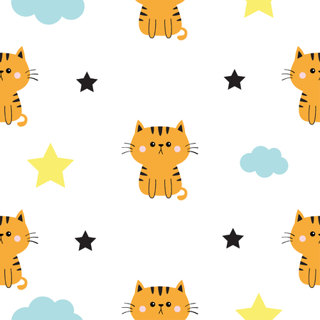 Orange at head, hands. Cloud, star shape. Cute cartoon kawaii character. Baby pet collection. Seamless Pattern Wrapping paper, textile template. White background. Flat design. Vector illustration  イラスト・ベクター素材