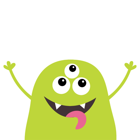 Monster scary screaming face head icon. Eyes, fang tooth, tongue, hands up. Cute cartoon boo spooky character. Green silhouette. Kawaii funny baby. Happy Halloween. Flat design White background Vector