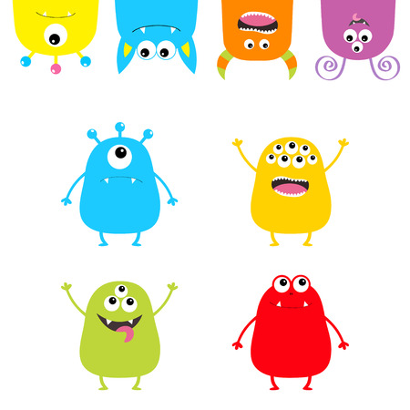 Colorful monster silhouette set. Hanging Upside down head face. Cute cartoon scary character. Baby collection. Eyes, tongue, hands up. White background. Isolated. Happy Halloween . Flat design. Vector