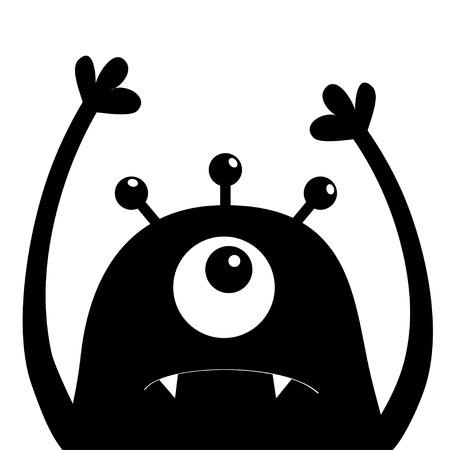 Monsterkopf-Silhouette. Ein Auge, Zähne, Fang, Hände hoch. Schwarze lustige niedliche Zeichentrickfigur Baby-Sammlung. Glückliche Halloween-Karte. Flaches Design. Weißer Hintergrund. Isoliert. Vektorillustration