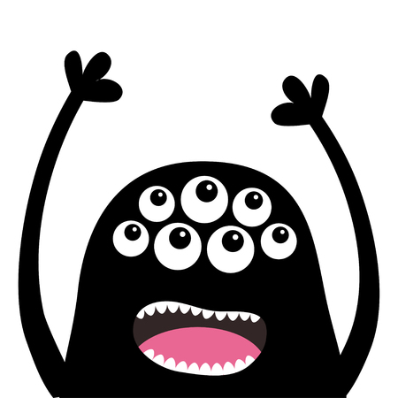 Screaming monster head silhouette. Many eyes, teeth, tongue, hands up. Black Funny Cute cartoon character. Baby collection. Happy Halloween card. Flat design. White background. Vector illustration Иллюстрация