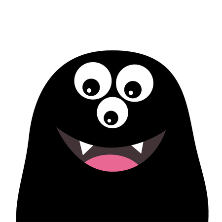 Smiling monster head silhouette. Thtee eyes, teeth, tongue. Black Funny Cute cartoon character. Baby collection. Happy Halloween card. Flat design. White background. Vector illustration Ilustração
