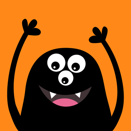 Smiling monster head silhouette. Thtee eyes, teeth, tongue, hands up. Black Funny Cute cartoon character. Baby collection. Happy Halloween card. Flat design. Orange background. Vector illustration