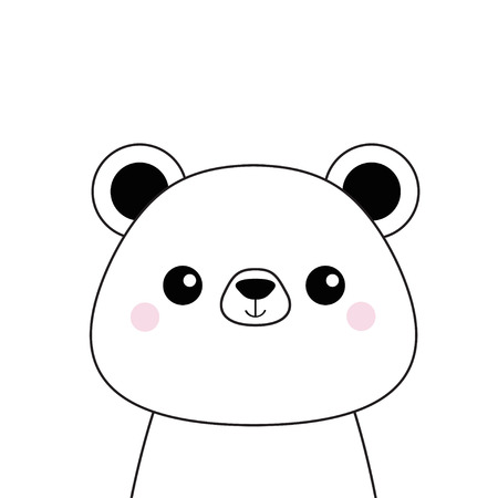 White bear face . Black contour silhouette. Kawaii animal. Cute cartoon grizzly character. Funny baby with eyes, nose, ears. Love Greeting card. Flat design. White background Isolated. Vector  イラスト・ベクター素材