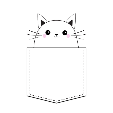 Cat in the pocket. Doodle linear sketch. Pink cheeks. Cute cartoon animals. Kitten kitty character. Dash line. Pet animal. White and black color. T-shirt design. Baby background. Isolated. Flat Vector