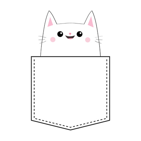 Cat in the pocket. Doodle linear sketch. Pink cheeks. Cute cartoon animals. Kitten kitty character. T-shirt design. Dash line. Pet animal. White and black color. Baby background. Isolated. Flat Vector