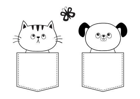 Cane gatto in tasca, farfalla volante. Doodle schizzo lineare. Animale da compagnia simpatico cartone animato. Carattere di cane cucciolo. Linea tratteggiata. Colore bianco e nero. Design della maglietta. Sfondo bambino. Isolato. Vettore piatto