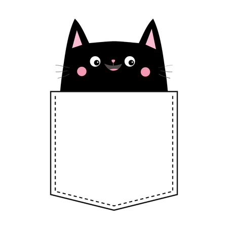 Black cat in the pocket. Pink cheeks. Cute cartoon animals. Kitten kitty character. Dash line. Pet animal collection. White and black color. T-shirt design. Baby background. Isolated. Flat Vector
