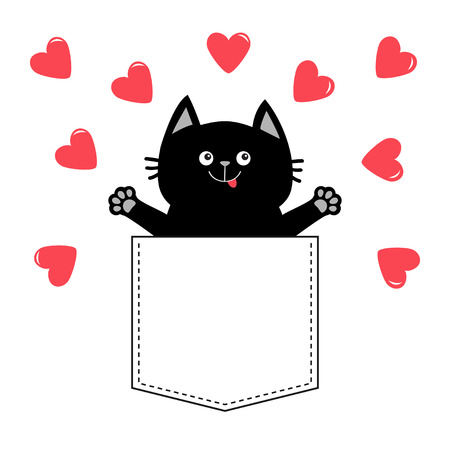 Cat in pink pocket. Red heart Love card. Happy Valentines Day. Hands up. Give me a hug. Cute cartoon pet animal. Kitten kitty character. White background. T-shirt design. Baby collection. Flat Vector