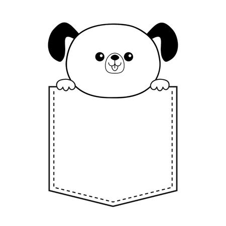 Cane in tasca tenendosi per mano. Schizzo lineare di contorno di Doodle. Animali simpatici cartoni animati. Carattere del cucciolo di cane. Linea tratteggiata. Animale da compagnia. Colore bianco e nero. Disegno della maglietta. Sfondo del bambino. vettore piatto